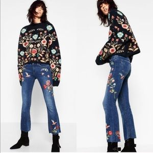 Zara Floral Embroidered Cropped Raw Hem Flare Jean